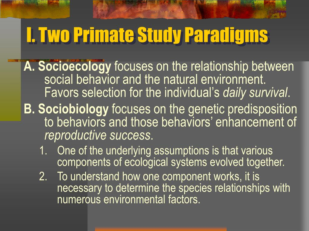 I. Two Primate Study Paradigms