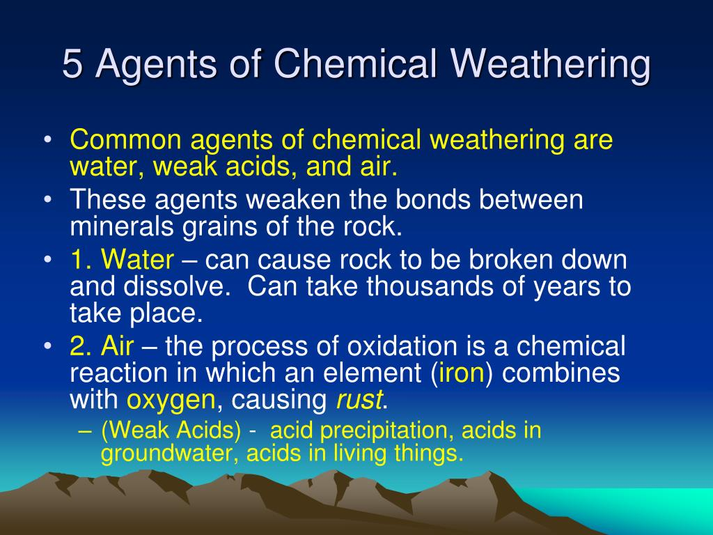 5 Agents of Chemical Weathering