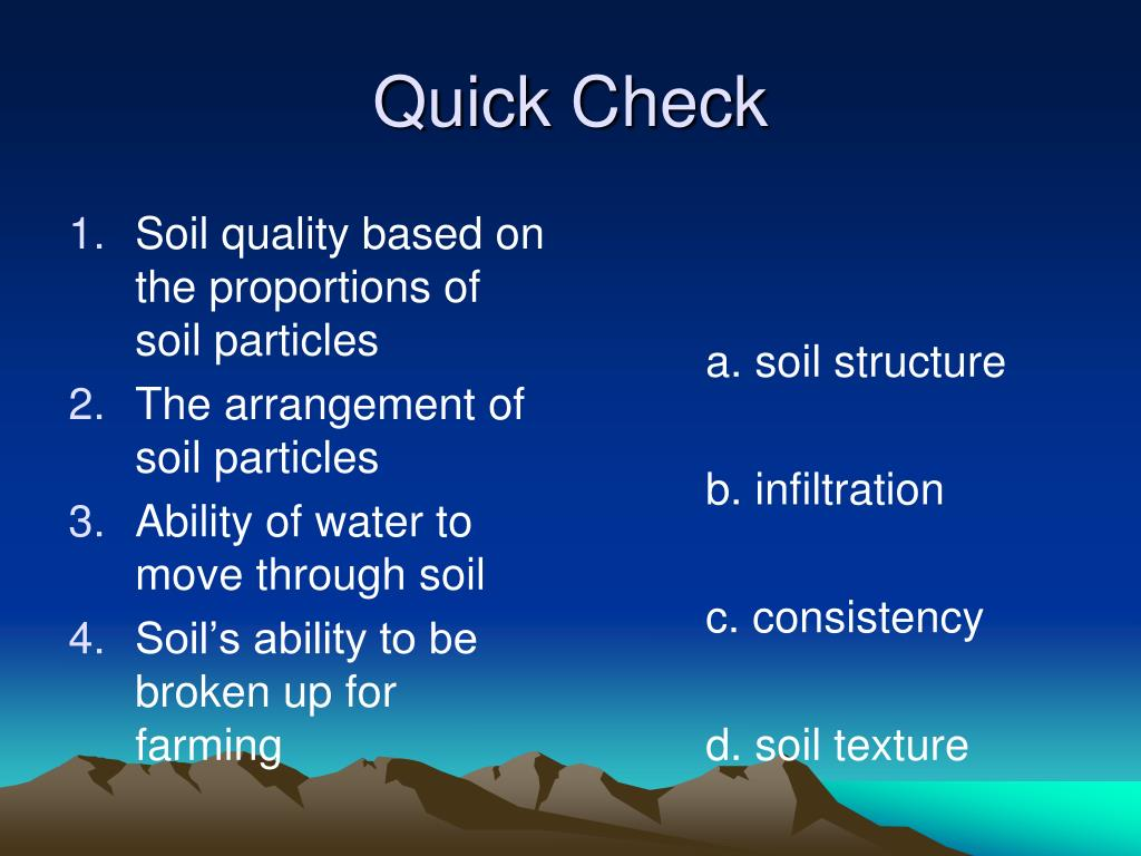Soil quality based on the proportions of soil particles
