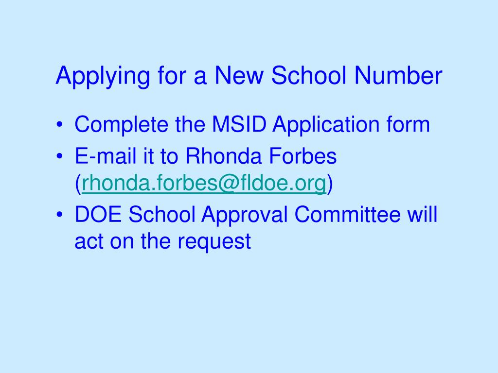Applying for a New School Number