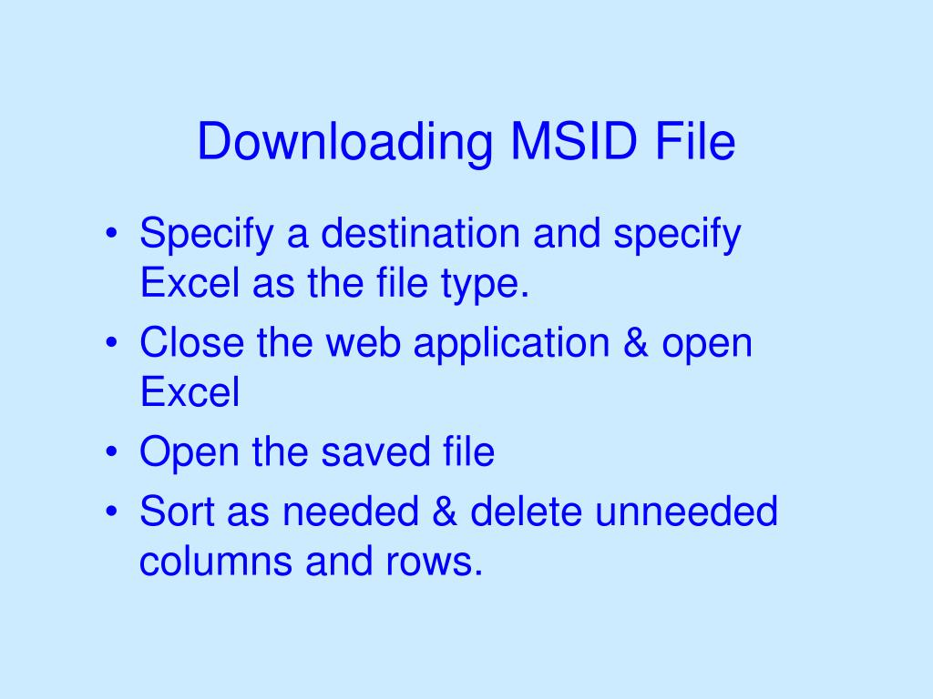 Downloading MSID File