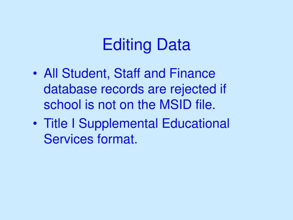 Editing Data