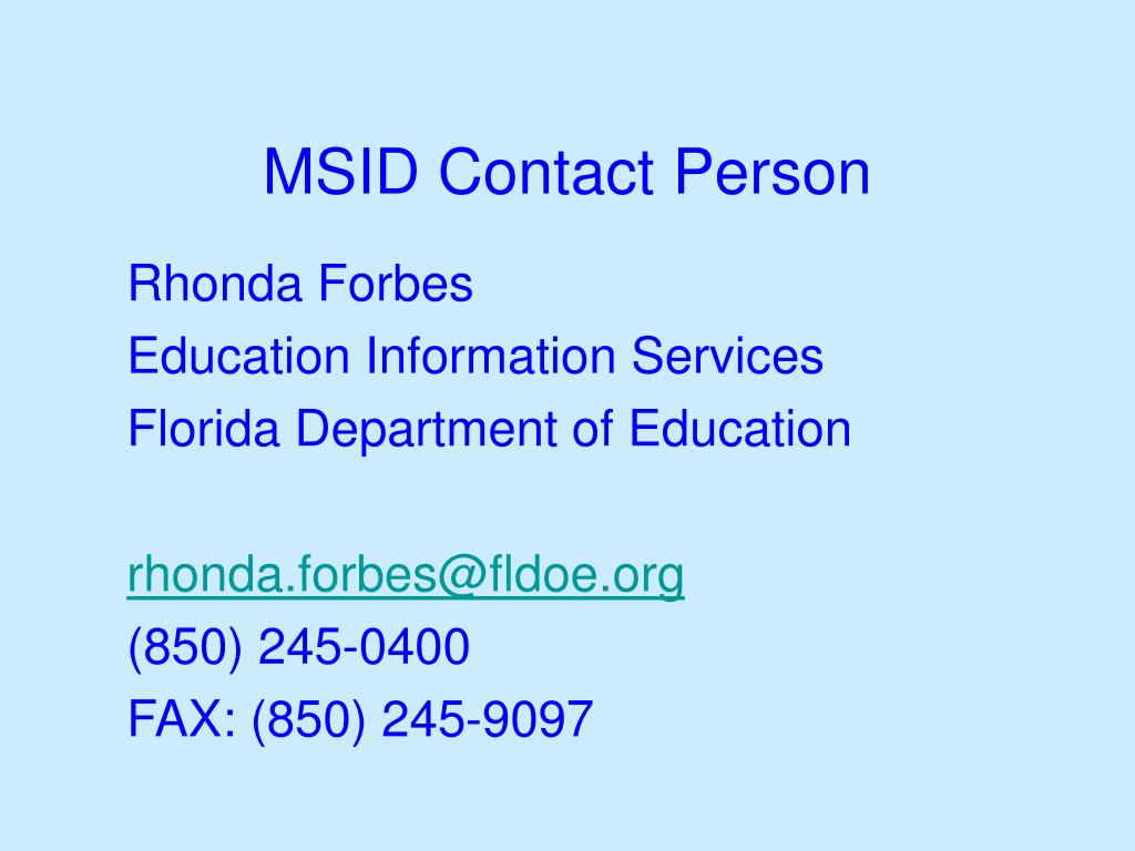 MSID Contact Person
