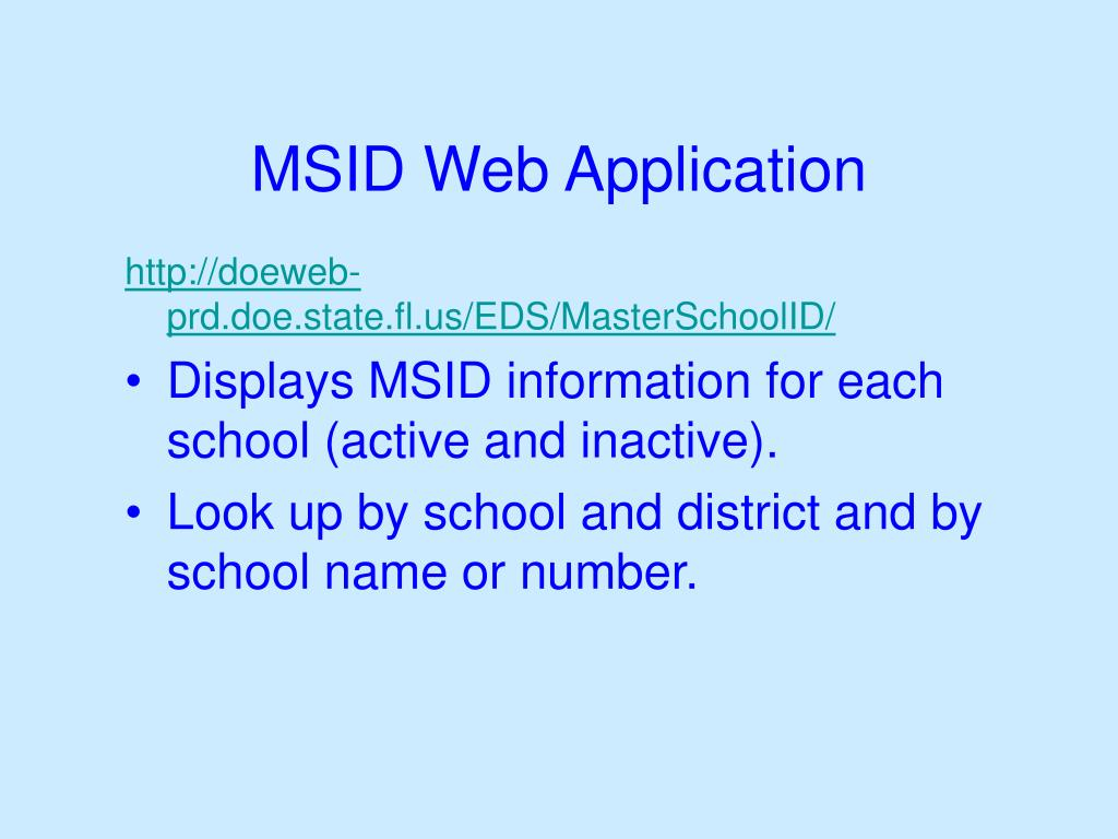 MSID Web Application