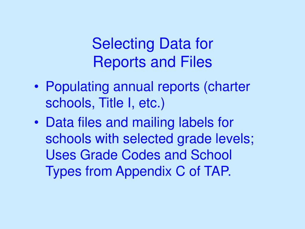 Selecting Data for