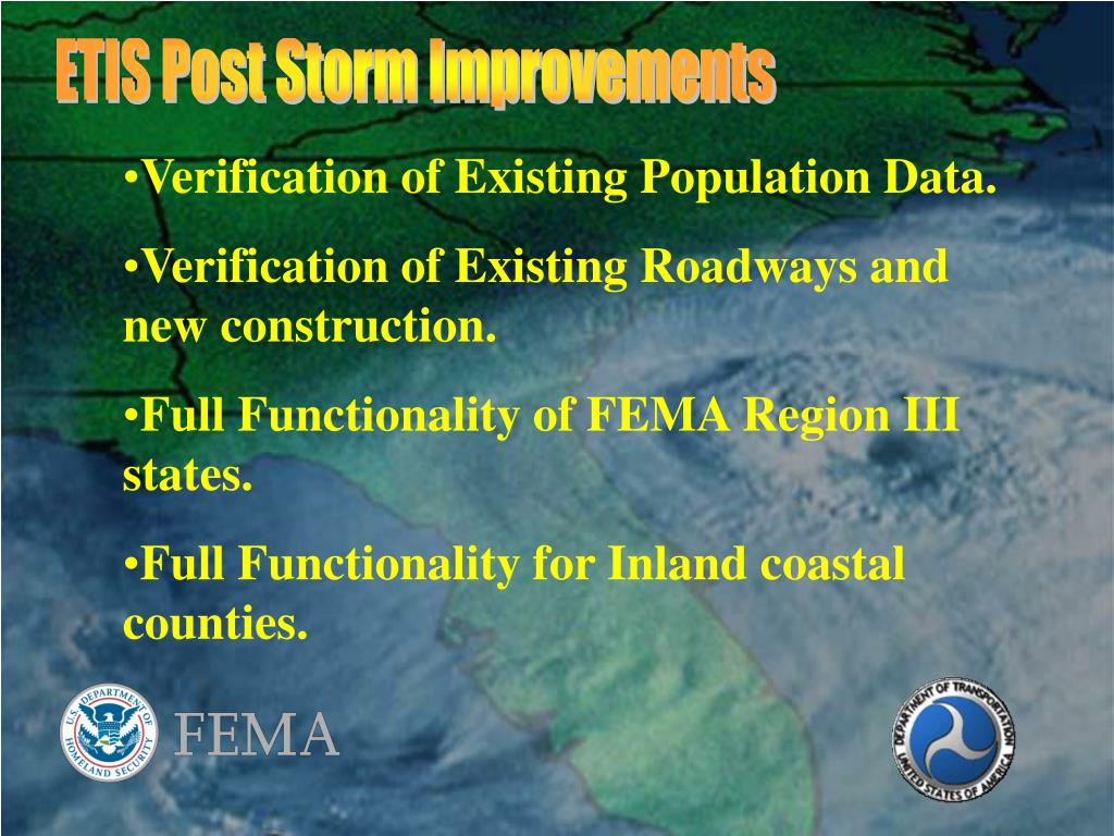 ETIS Post Storm Improvements