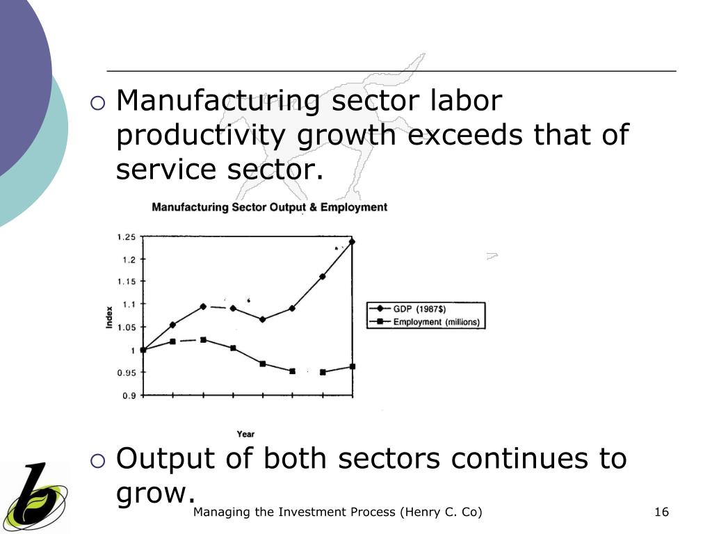 Manufacturing sector labor productivity growth exceeds that of service sector.