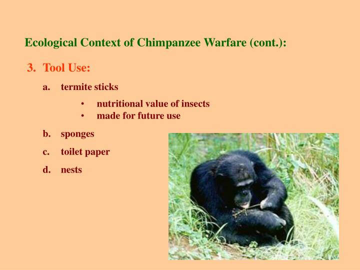 Ecological Context of Chimpanzee Warfare (cont.):