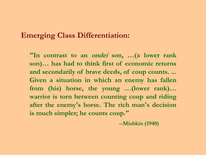 Emerging Class Differentiation: