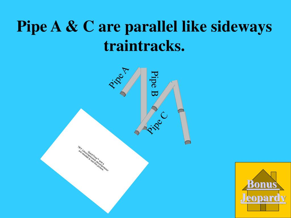 Pipe A & C are parallel like sideways traintracks.