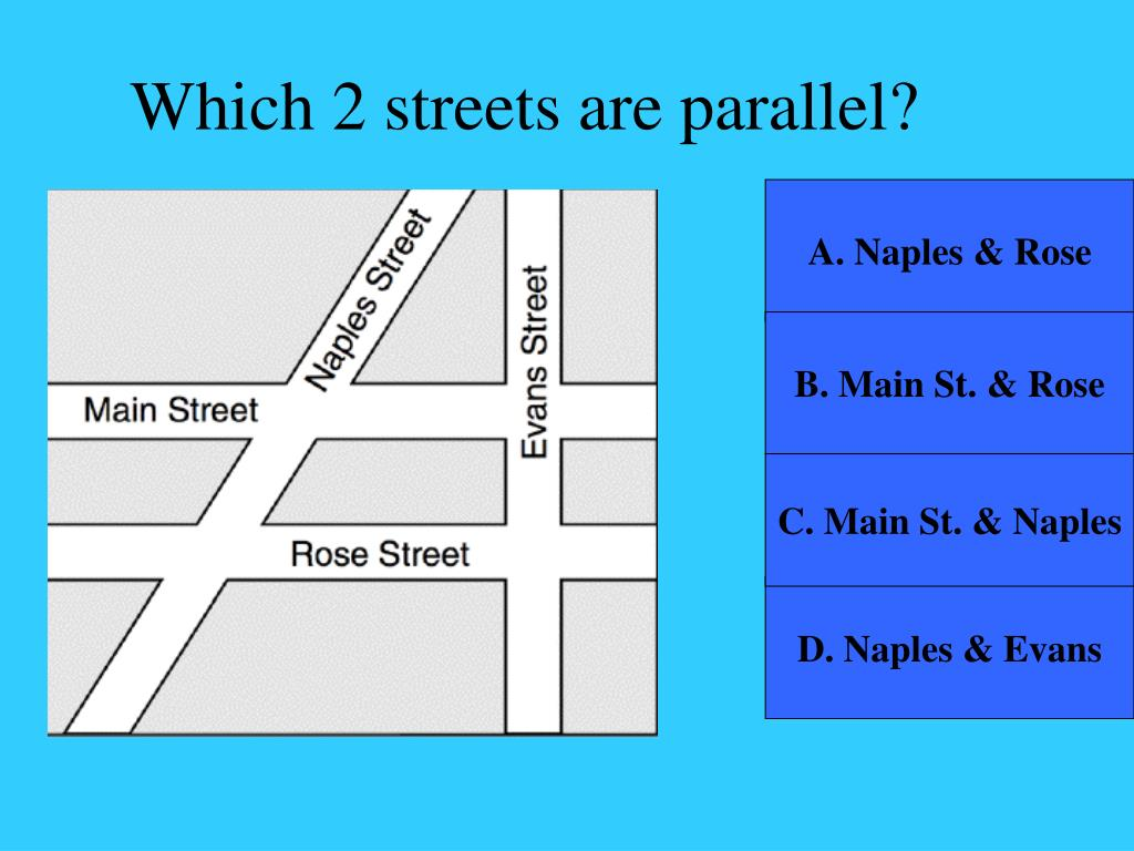 Which 2 streets are parallel?