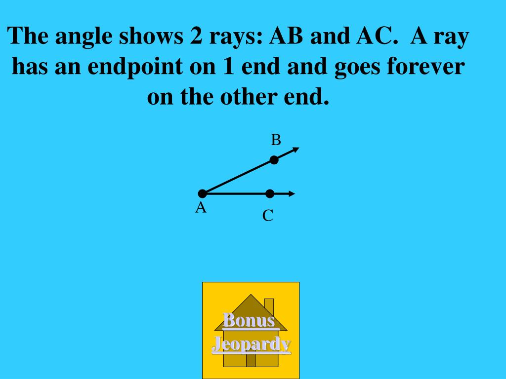 The angle shows 2 rays: AB and AC.  A ray has an endpoint on 1 end and goes forever on the other end.
