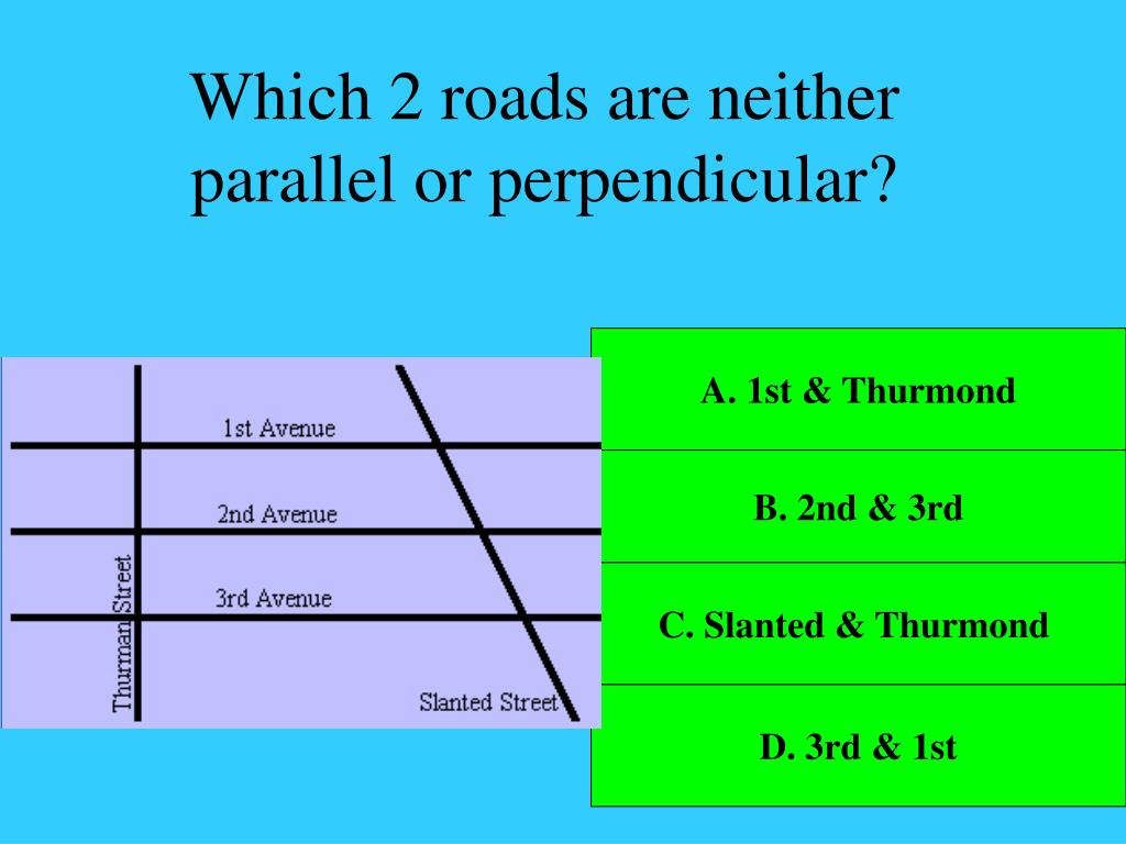 Which 2 roads are neither parallel or perpendicular?