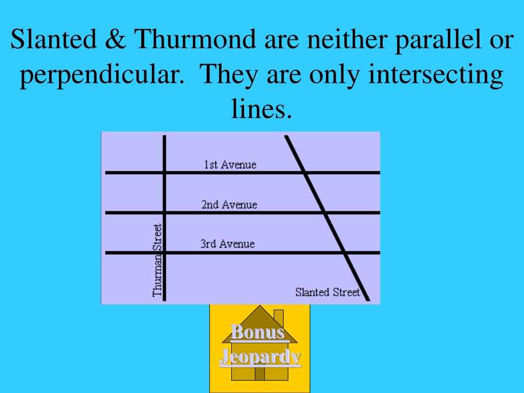 Slanted & Thurmond are neither parallel or perpendicular.  They are only intersecting lines.