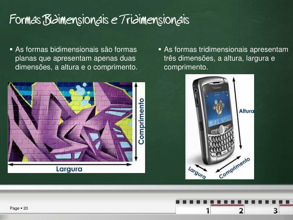 As formas bidimensionais são formas planas que apresentam apenas duas dimensões, a altura e o comprimento.
