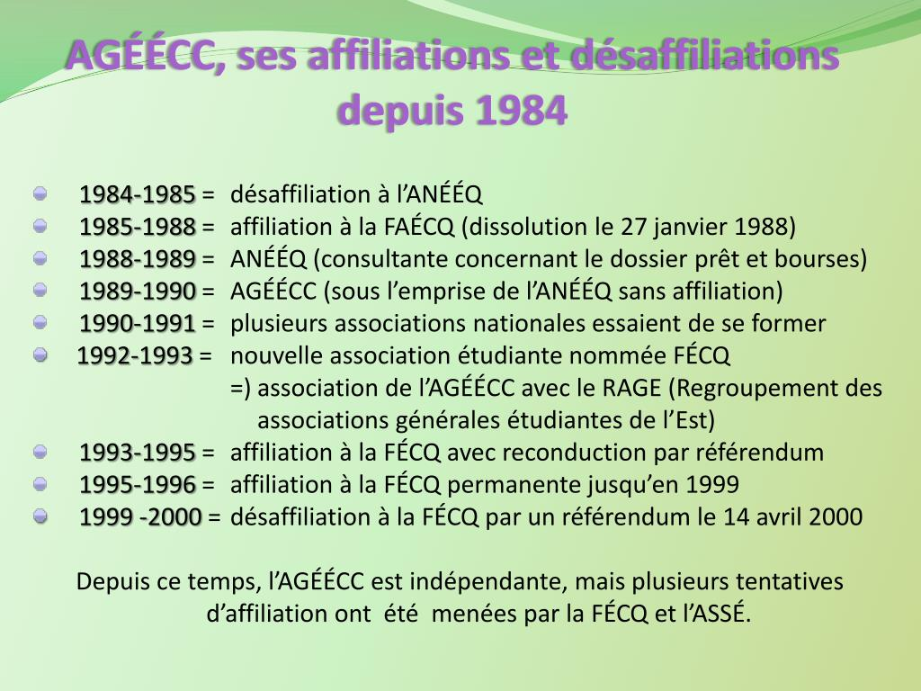 AGÉÉCC, ses affiliations et désaffiliations