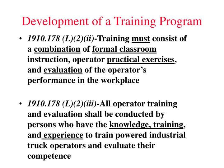 Development of a training program