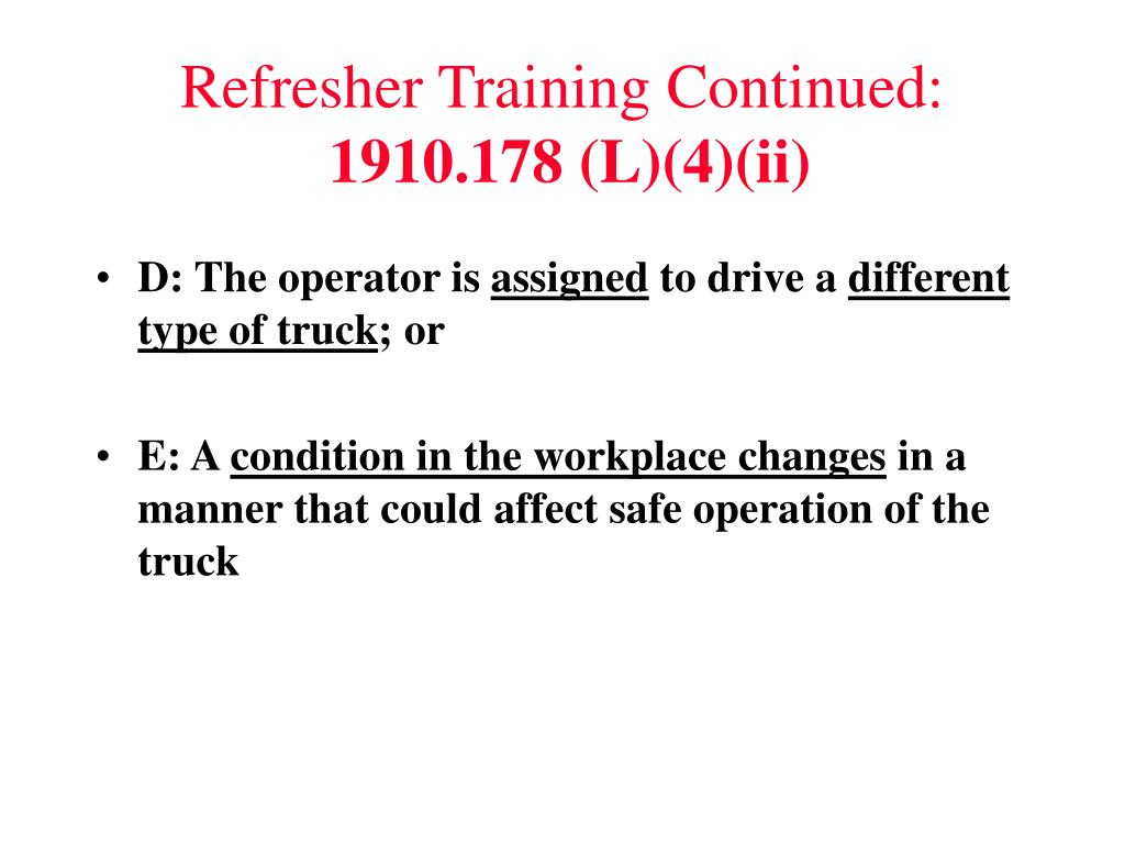 Refresher Training Continued: