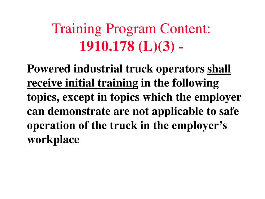 Training Program Content: