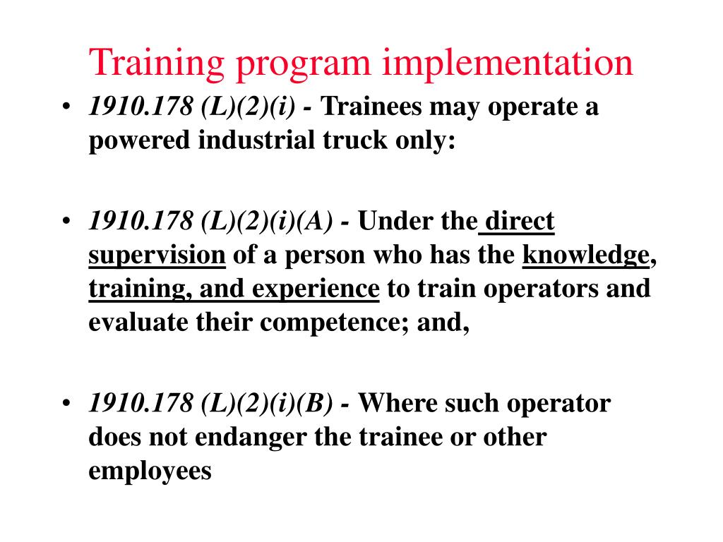 Training program implementation