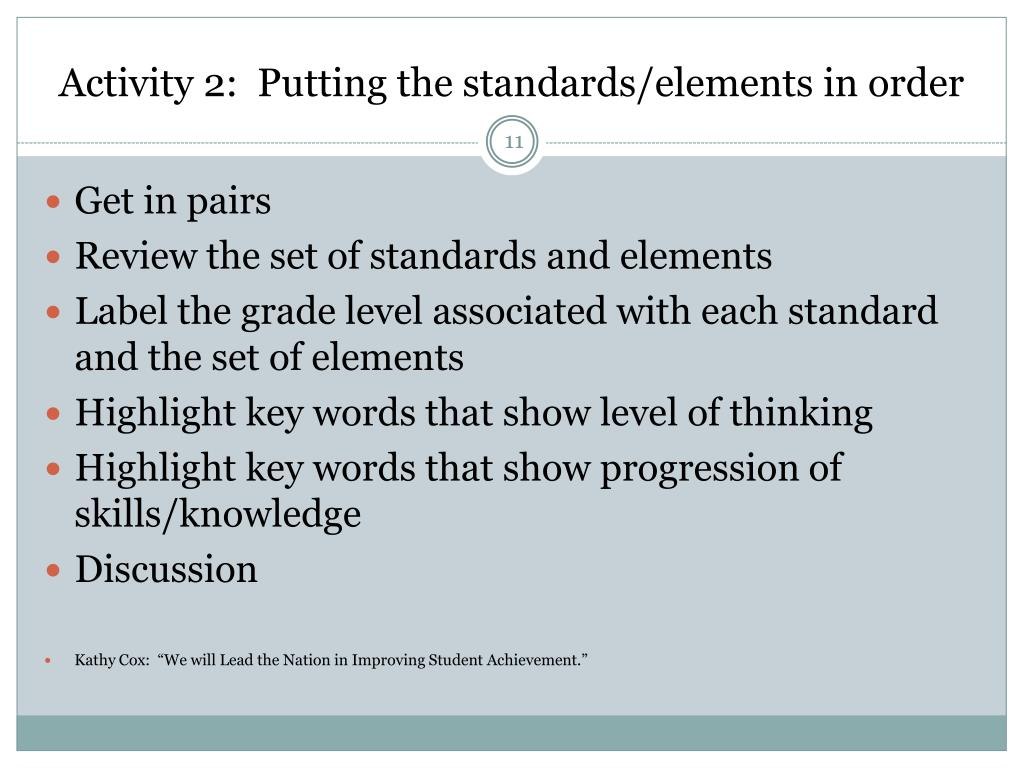 Activity 2:  Putting the standards/elements in order