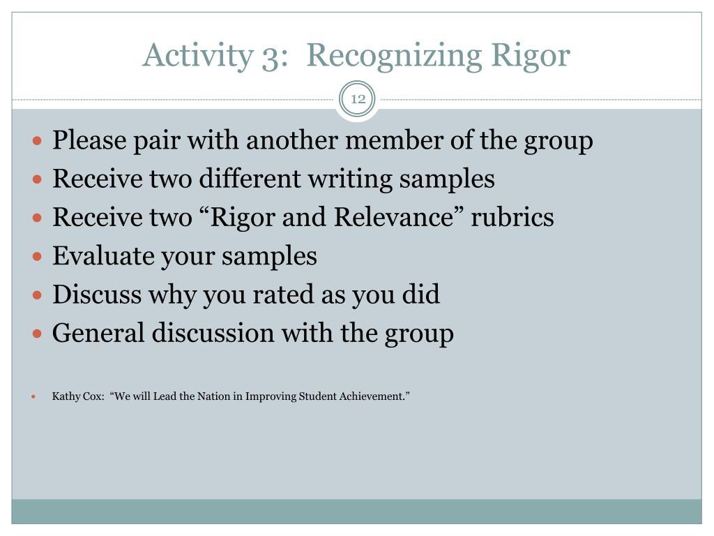 Activity 3:  Recognizing Rigor