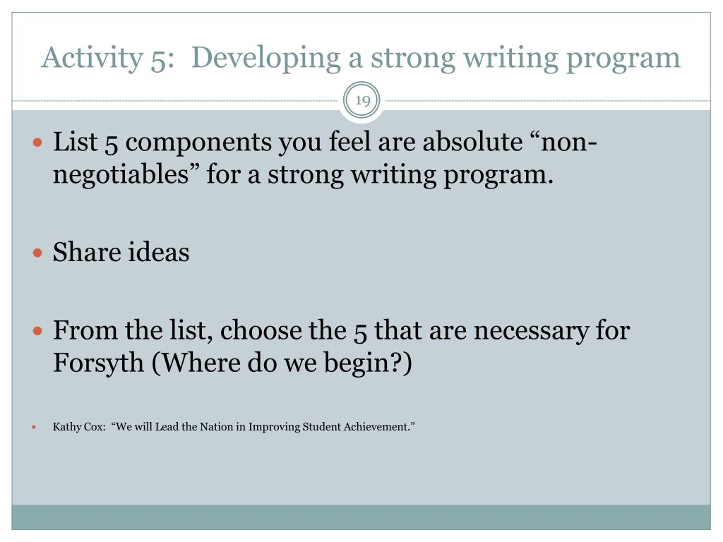 Activity 5:  Developing a strong writing program