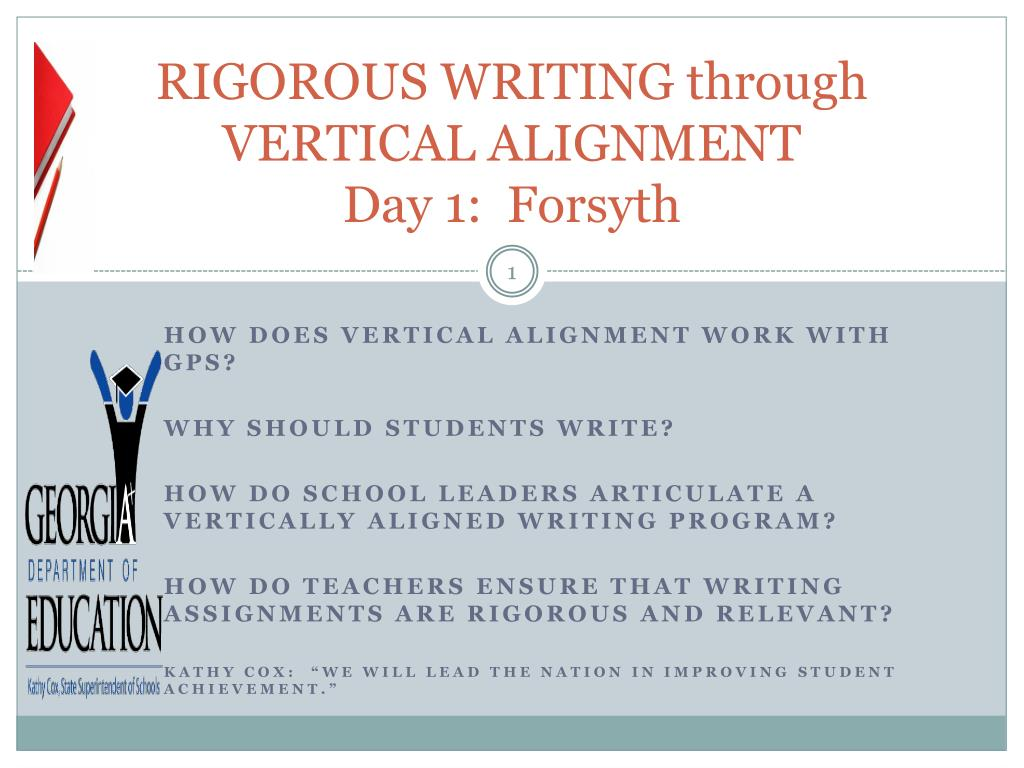RIGOROUS WRITING through VERTICAL ALIGNMENT