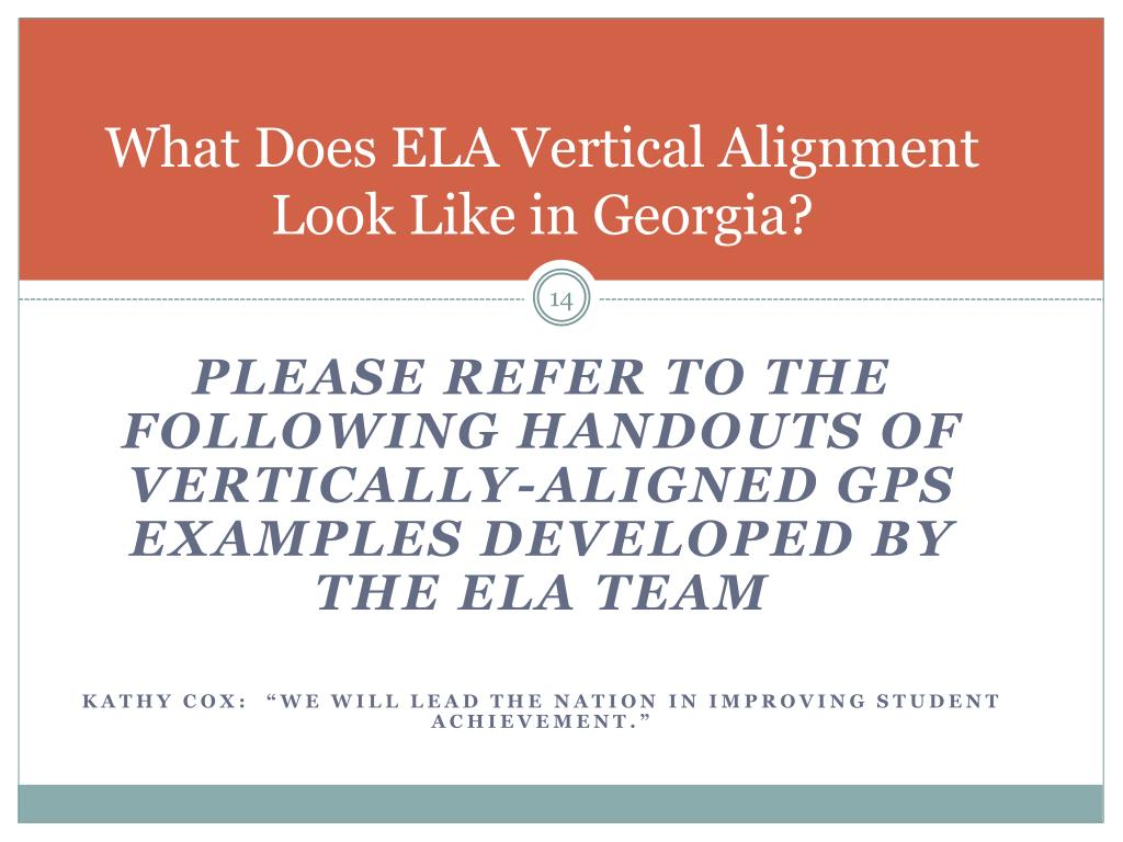 What Does ELA Vertical Alignment Look Like in Georgia?