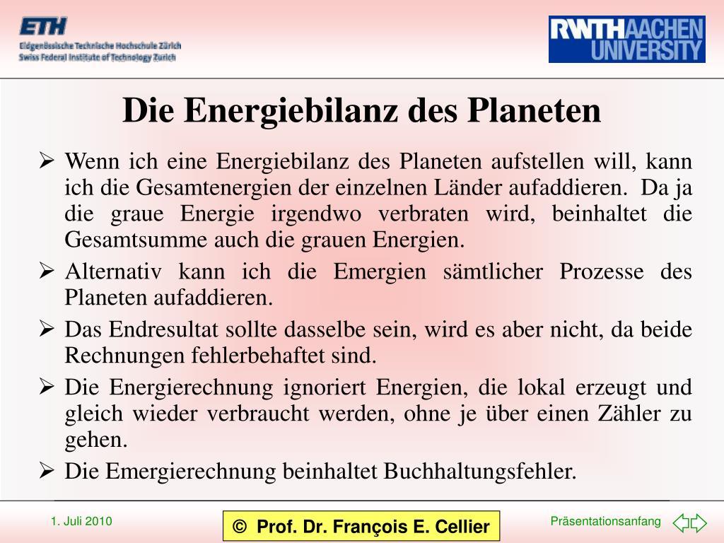 Die Energiebilanz des Planeten