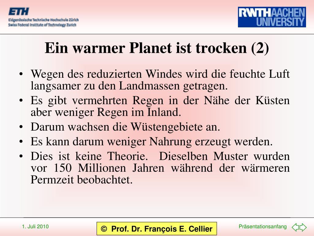 Ein warmer Planet ist trocken (2)