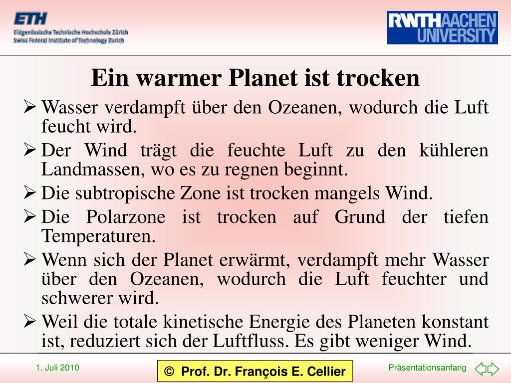 Ein warmer Planet ist trocken