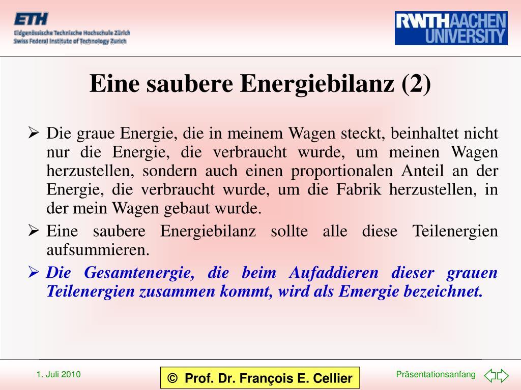 Eine saubere Energiebilanz (2)