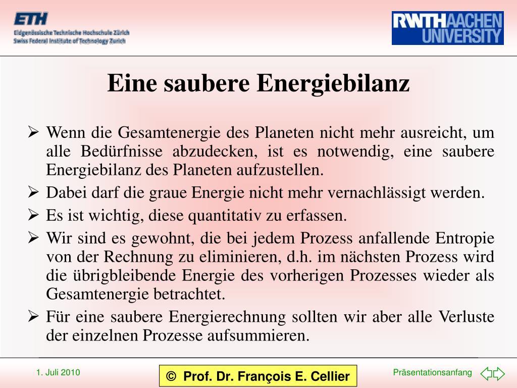 Eine saubere Energiebilanz