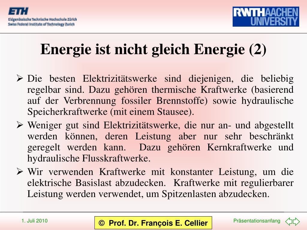 Energie ist nicht gleich Energie (2)