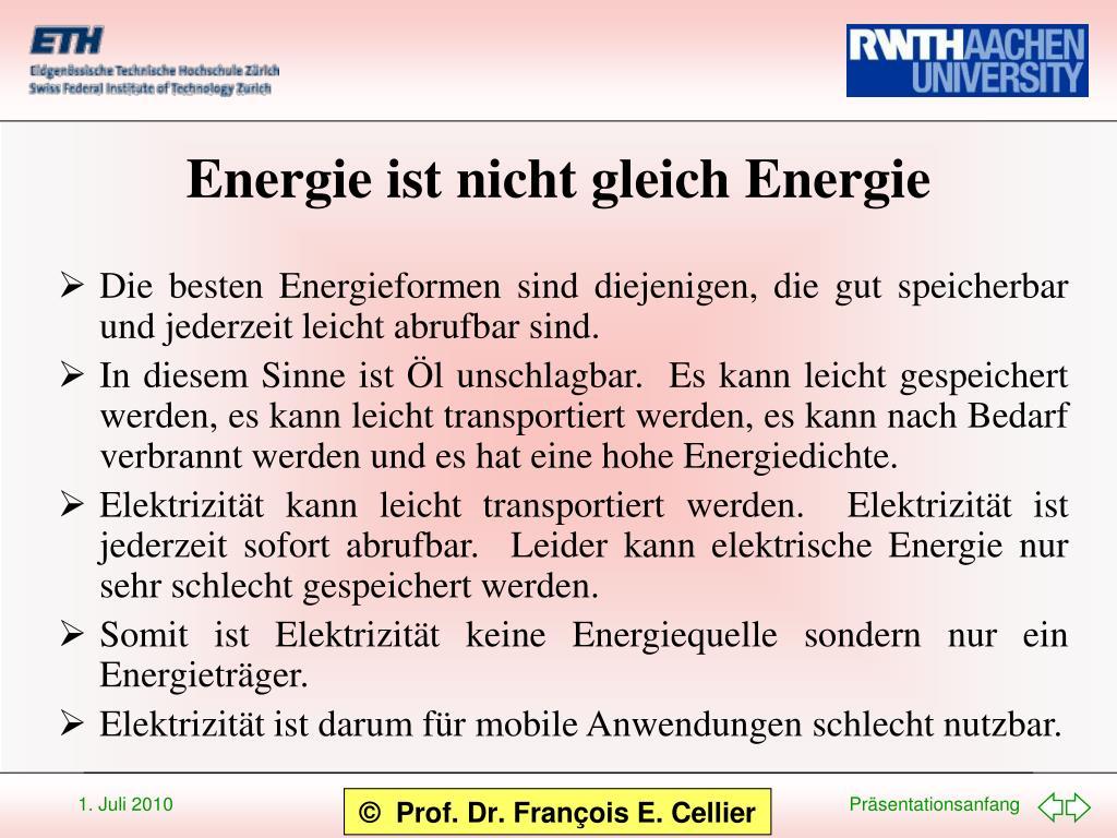 Energie ist nicht gleich Energie