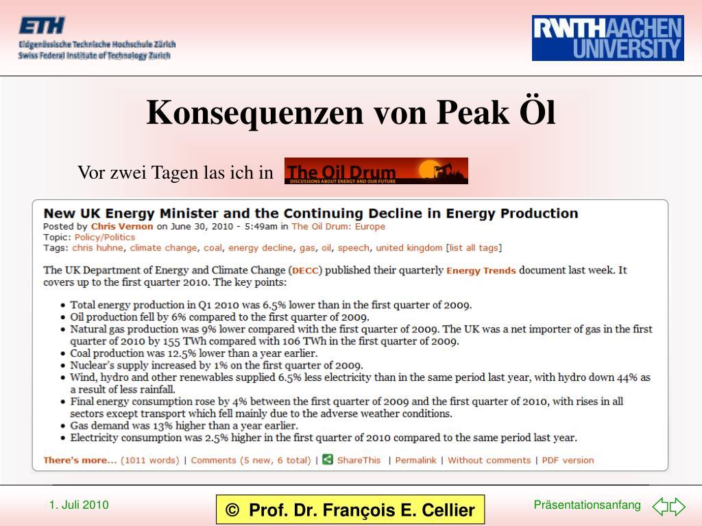 Konsequenzen von Peak Öl