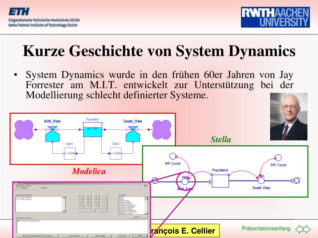 System Dynamics wurde in den frühen 60er Jahren von Jay Forrester am M.I.T. entwickelt zur Unterstützung bei der Modellierung schlecht definierter Systeme.