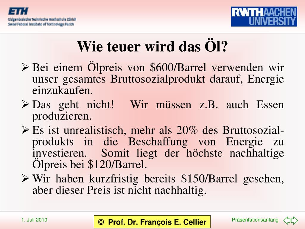 Wie teuer wird das Öl?