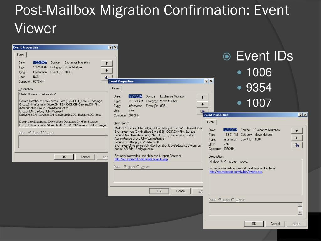 Post-Mailbox Migration Confirmation: Event Viewer