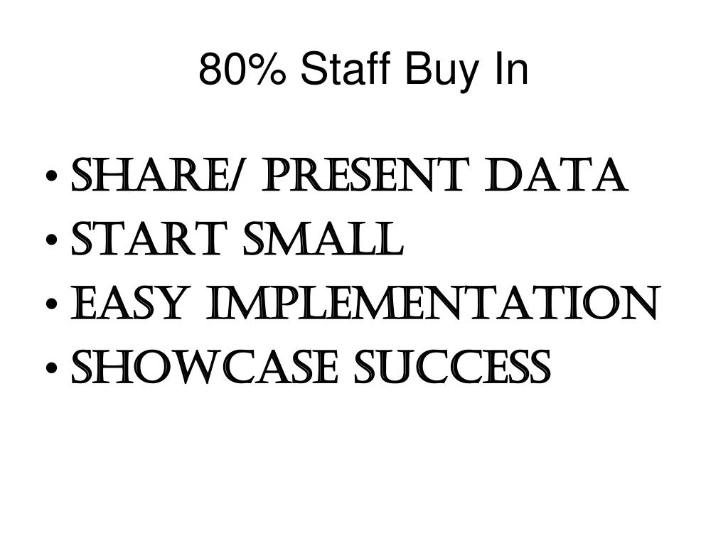 80% Staff Buy In