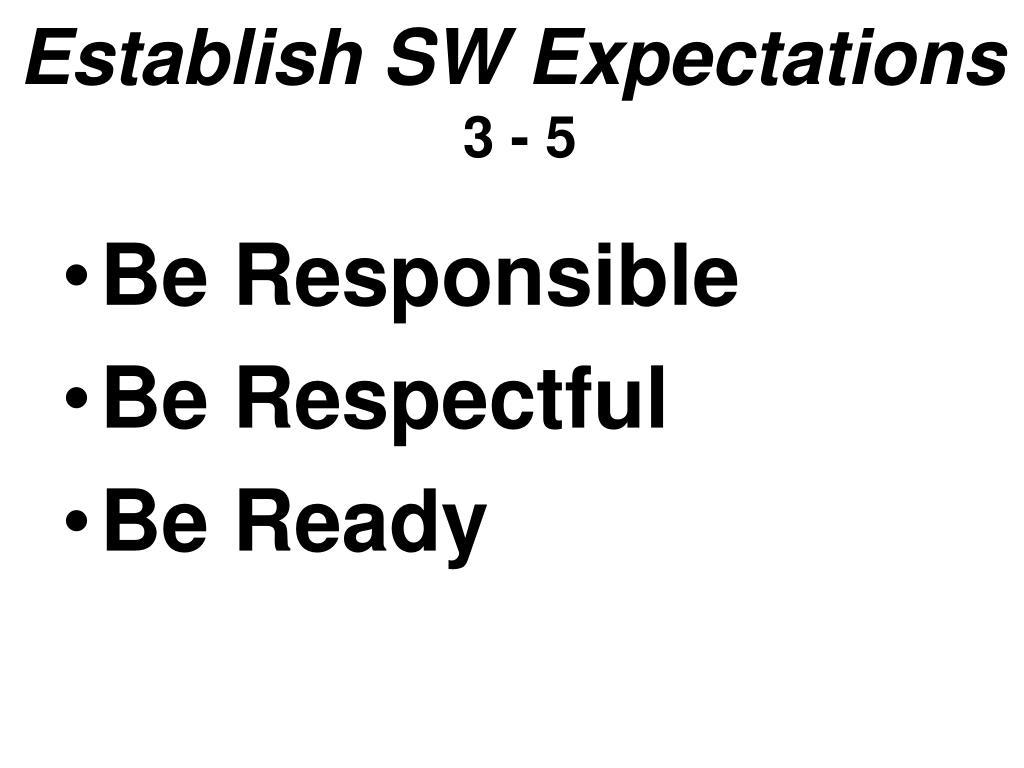 Establish SW Expectations