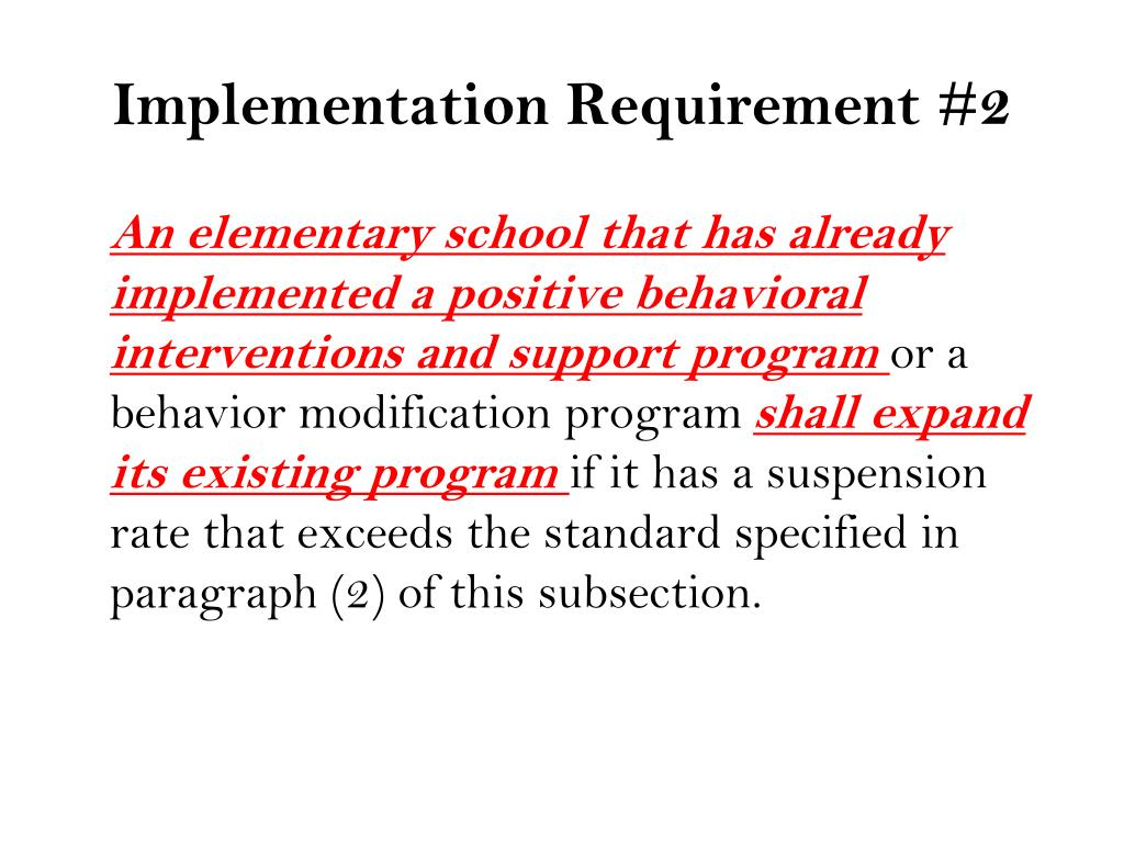 Implementation Requirement #2