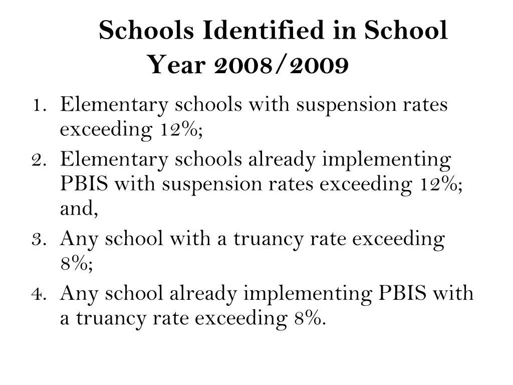 Schools Identified in School Year 2008/2009