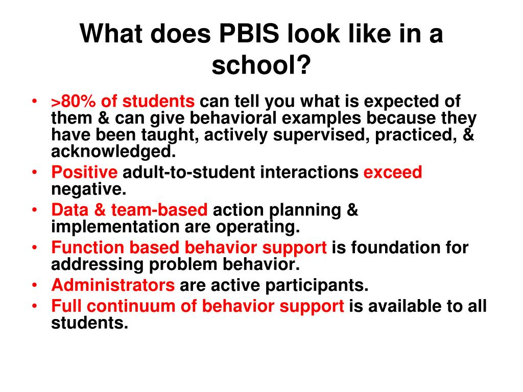 What does PBIS look like in a school?