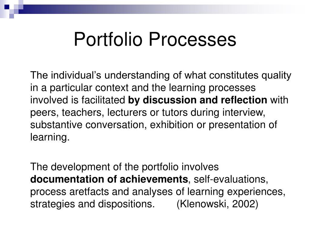 Portfolio Processes