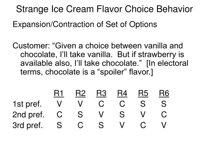 Strange ice cream flavor choice behavior