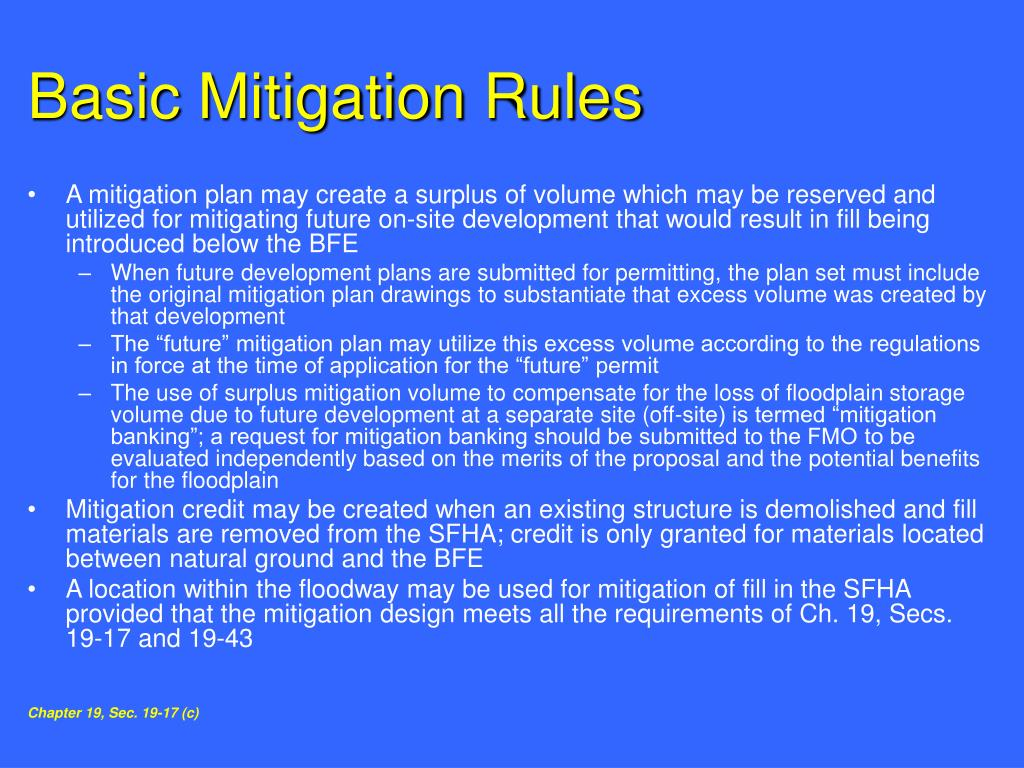Basic Mitigation Rules