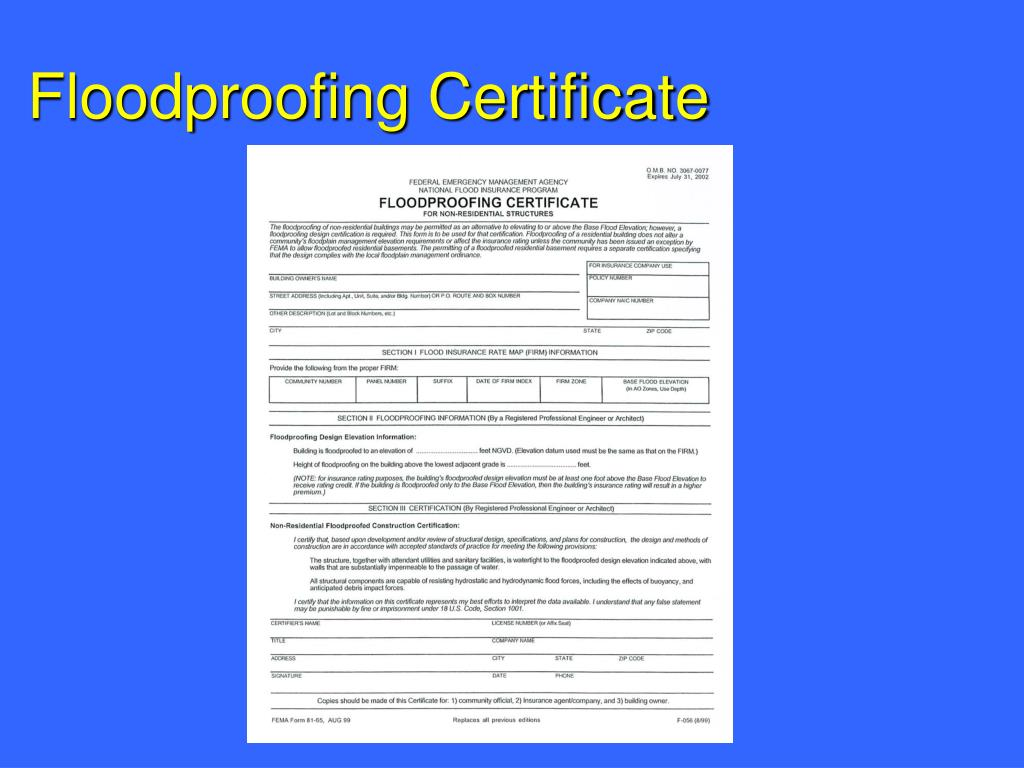 Floodproofing Certificate