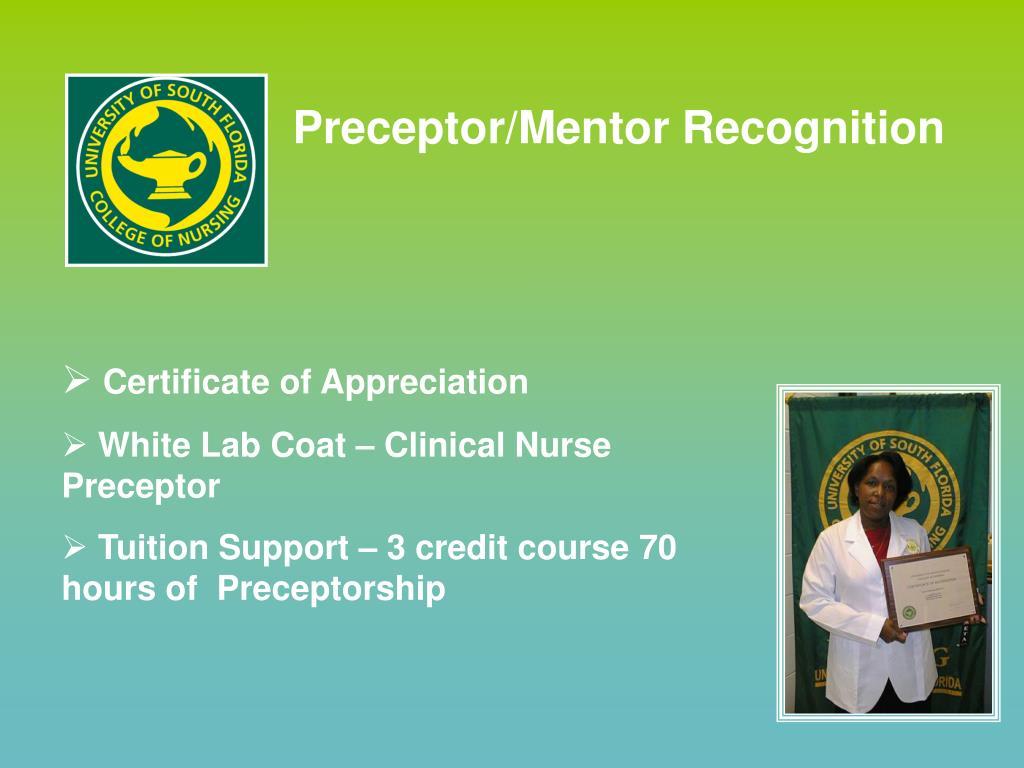 Preceptor/Mentor Recognition